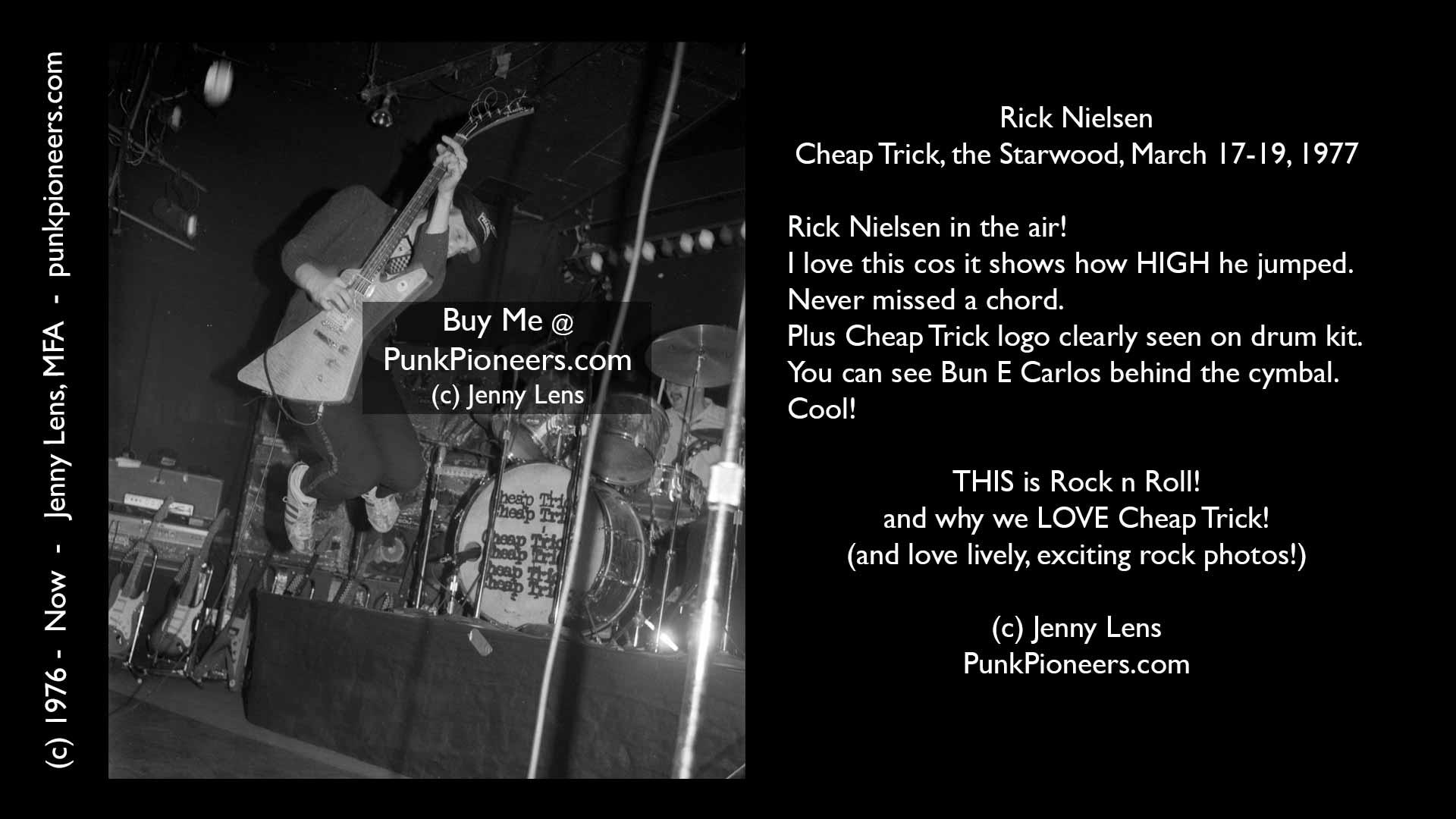 Cheap Trick, Rick Nielsen, Starwood, March 1977, Jenny Lens, PunkPioneers.com