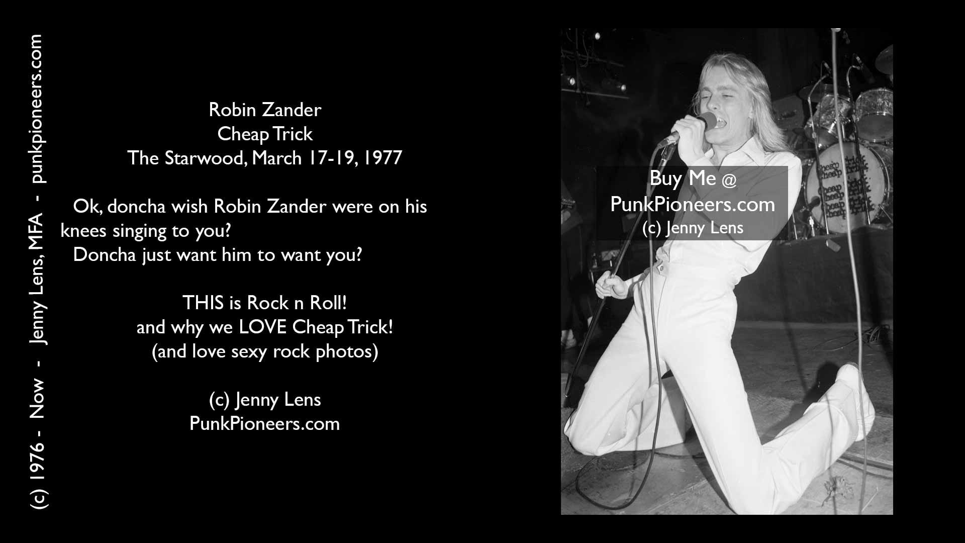 Cheap Trick, Robin Zander, Starwood, March 1977, Jenny Lens, PunkPioneers.com