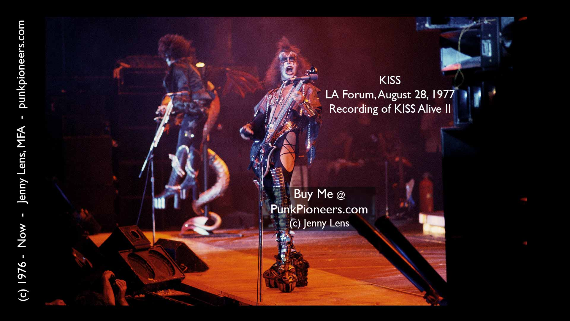 KISS, LA Forum, August 28, 1977, recording of KISS Live II, Jenny Lens, PunkPioneers.com