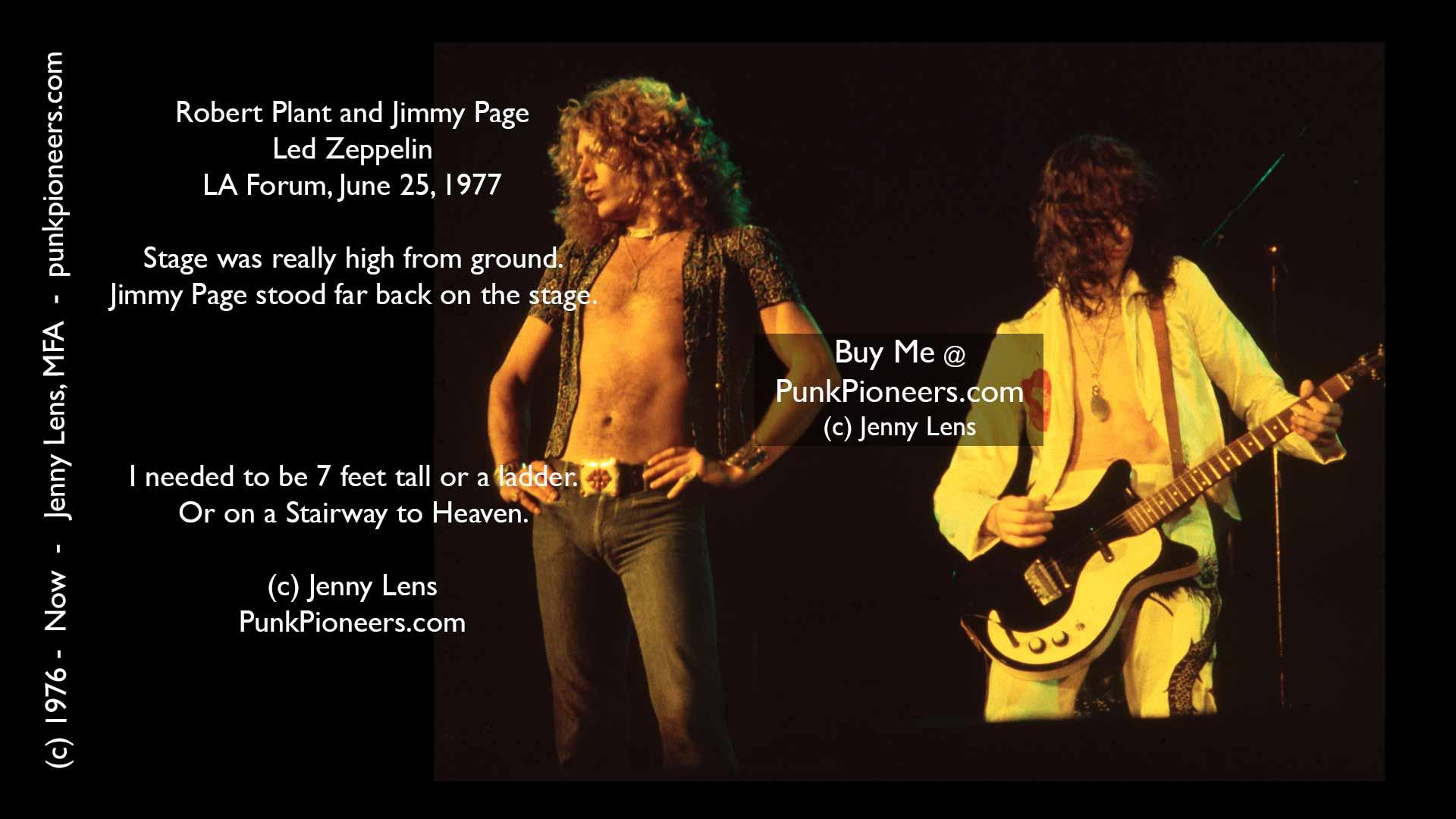 Led Zeppelin, Robert Plant, Jimmy Page, LA Forum, June 25, 1977, Jenny Lens, PunkPioneers.com