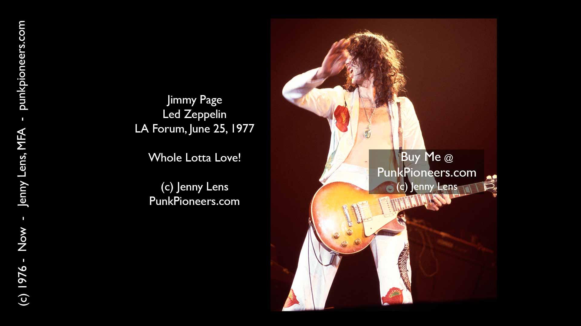 Led Zeppelin, Jimmy Page, LA Forum, June 25, 1977, Jenny Lens, PunkPioneers.com