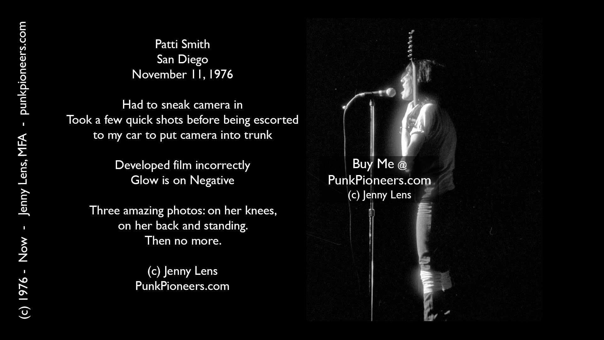 Patti Smith, San Diego, November 1976, Jenny Lens, PunkPioneers.com
