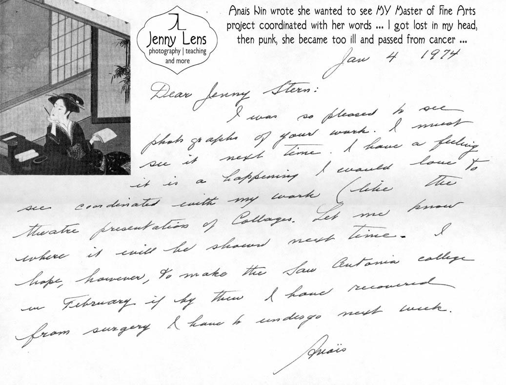 Anais Nin Letter to Jenny 1974