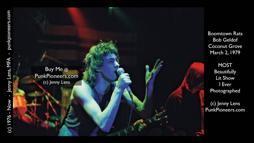 Boomtown Rats, Sir Bob Geldof, Coconut Grove, Purple Green lighting, March 2, 1979