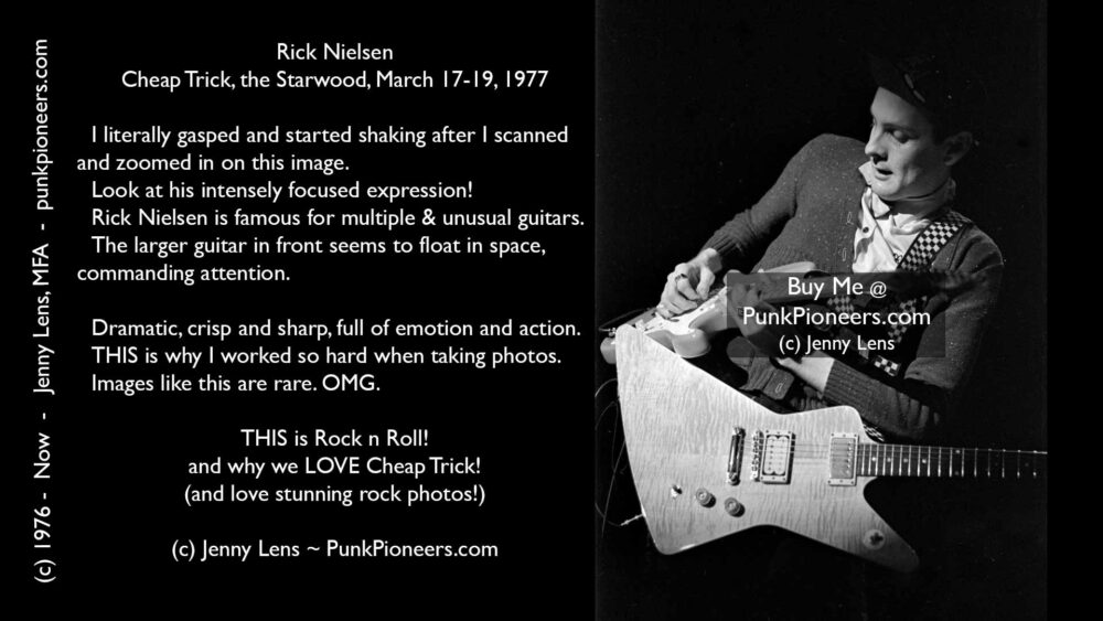 Cheap Trick, Rick Nielsen, Starwood, March 1977, Jenny Lens, PunkPioneers.com