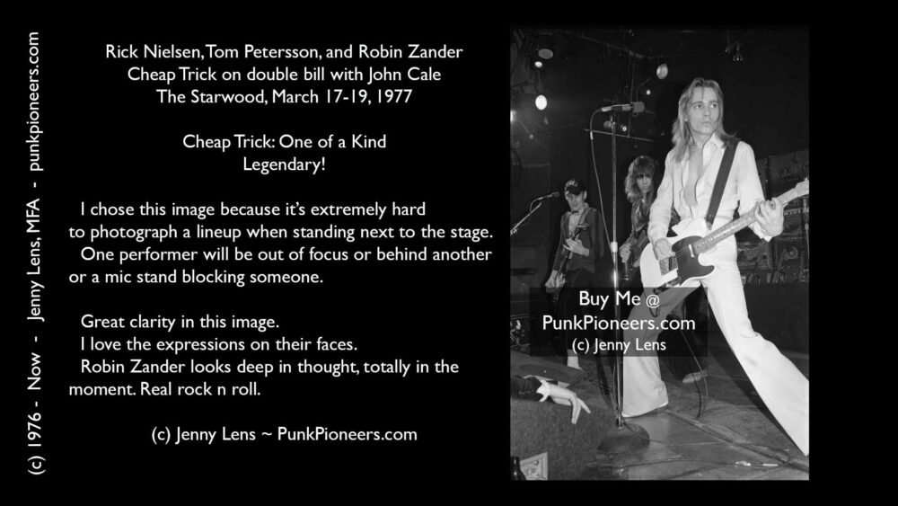 Cheap Trick, Rick Nielsen, Tom Petersson, Robin Zander, Starwood, March 1977, Jenny Lens, PunkPioneers.com