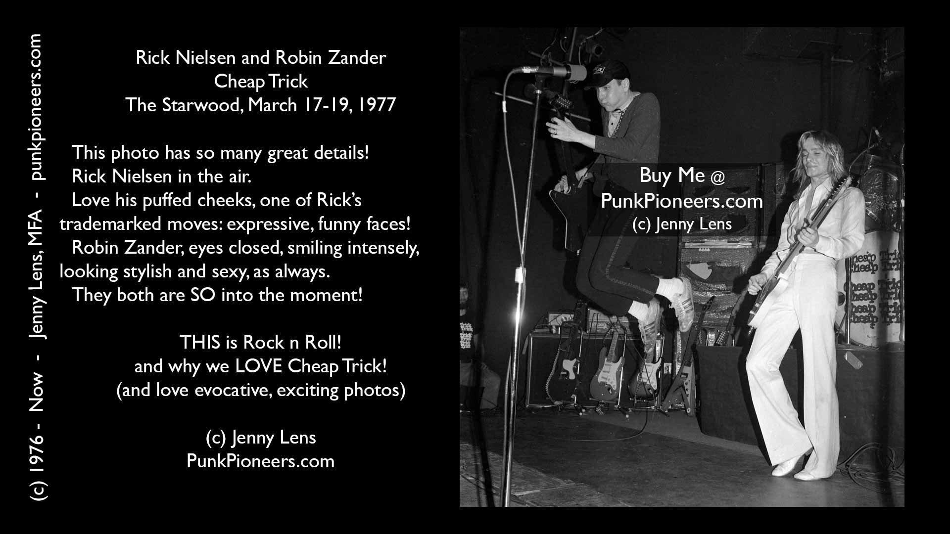 Cheap Trick, Rick Nielsen, Robin Zander, Starwood, March 1977, Jenny Lens, PunkPioneers.com