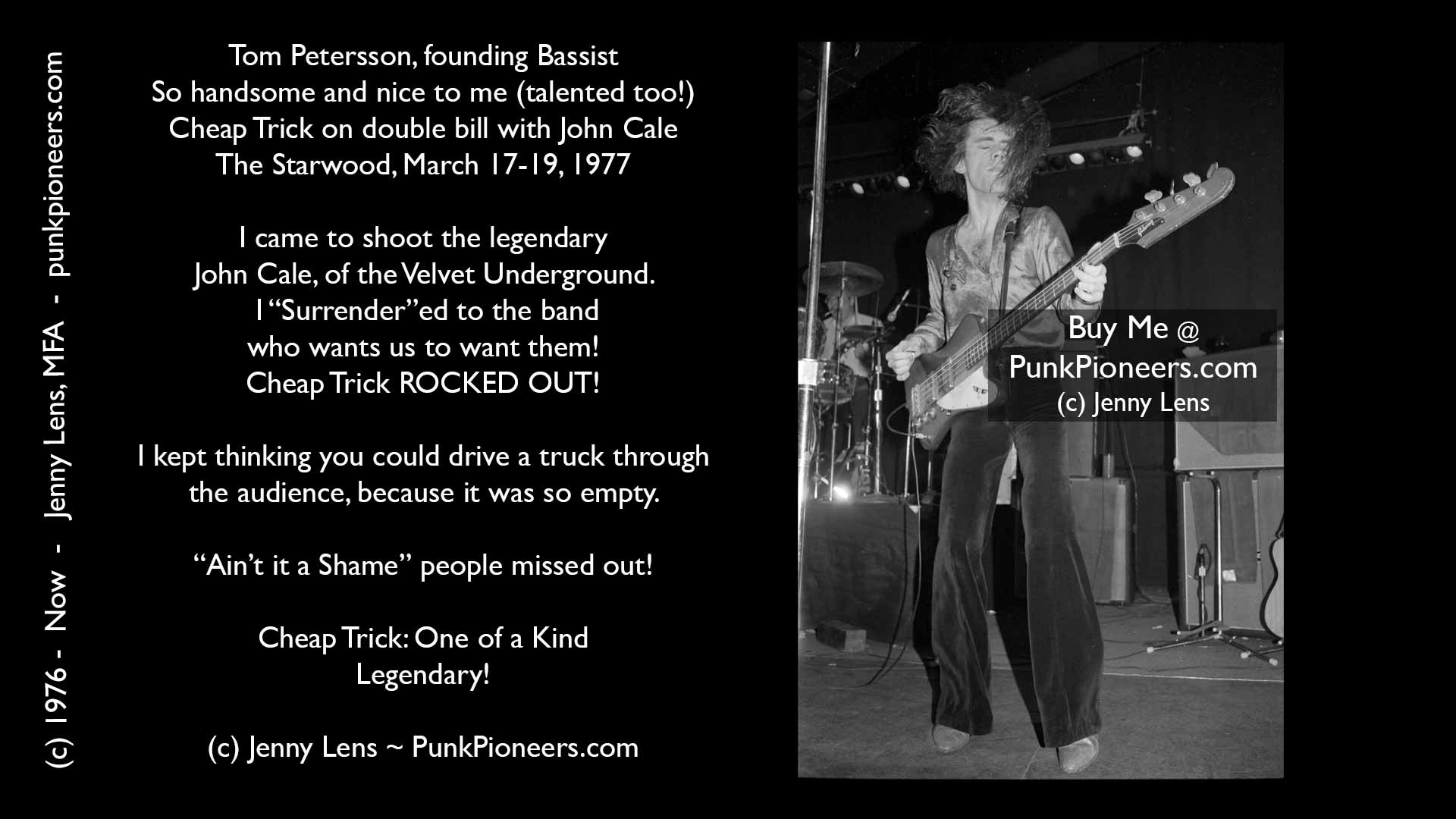 Cheap Trick, Tom Petersson, Starwood, March 1977, Jenny Lens, PunkPioneers.com