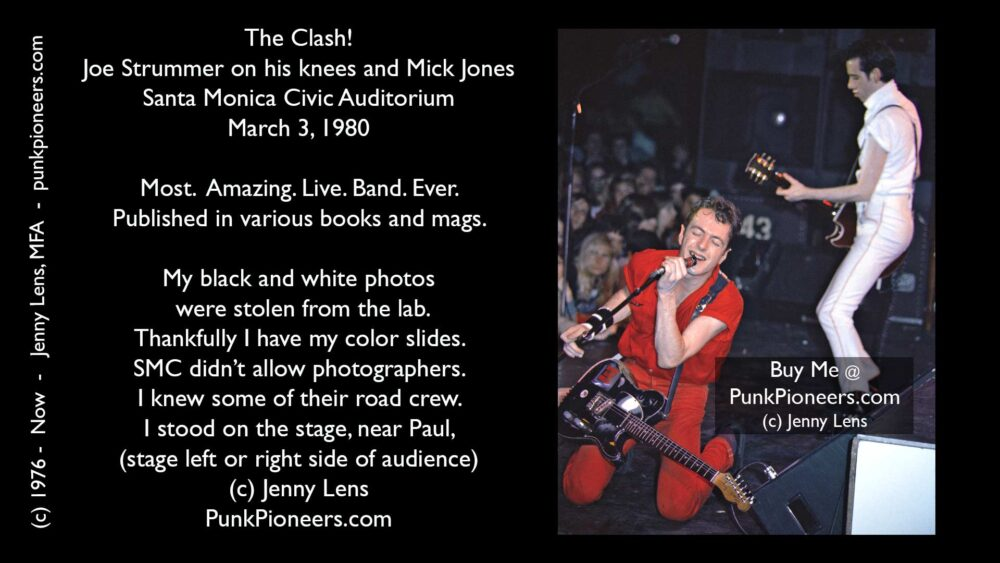 Clash, Joe Strummer on his knees and Mick Jones, 16 Tons Tour, Santa Monica Civic March 3, 1980