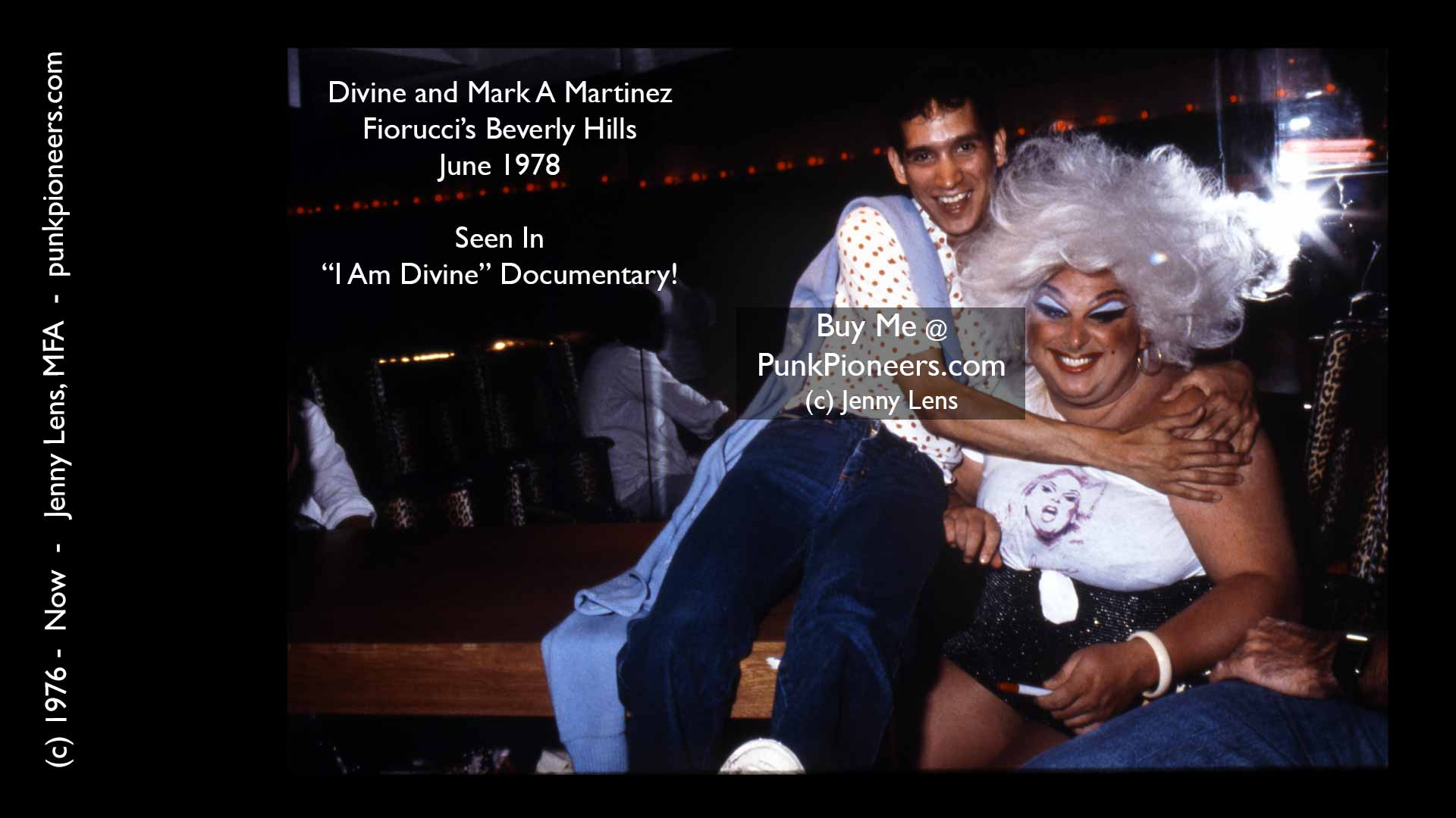 Divine and Mark A Martinez, Fiorucci Beverly Hills, June 1978, Jenny Lens, PunkPioneers.com