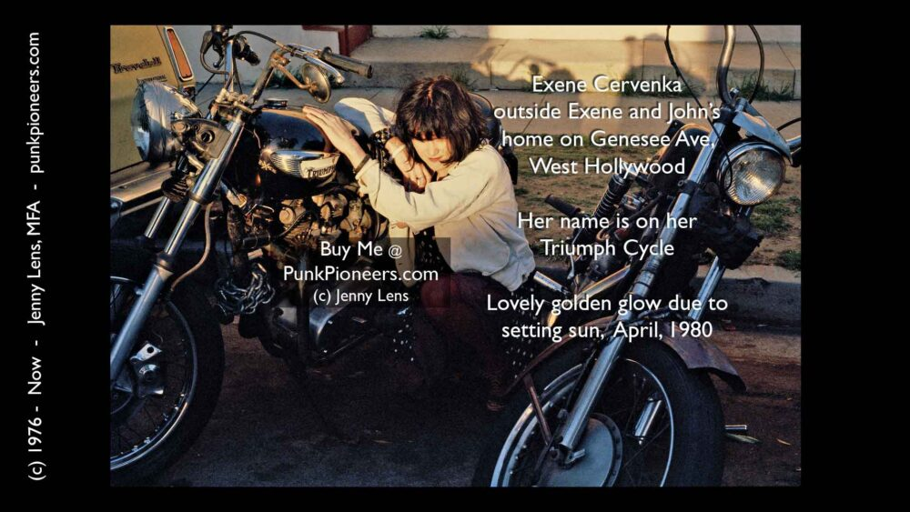 Exene Cervenka, X, with her Triumph Cycle, April 1980, Jenny Lens, PunkPioneers.com