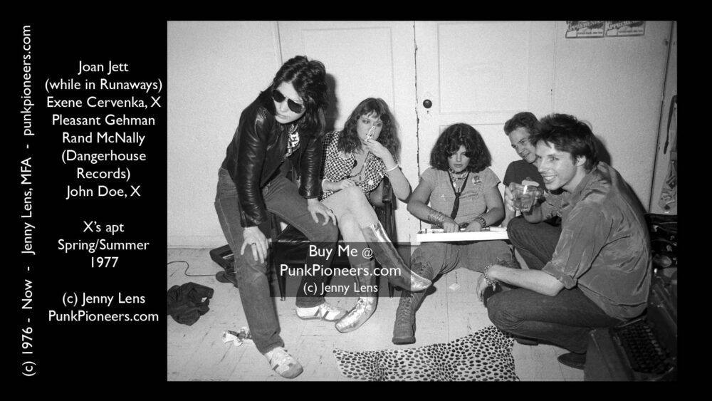 Fashion, Joan Jett, John Doe, Exene Cervenka at X's apt, 1977