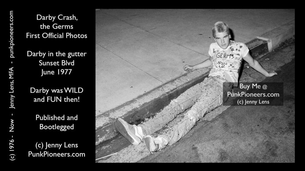 Germs, Darby Crash, Sunset Blvd gutter, June 1977