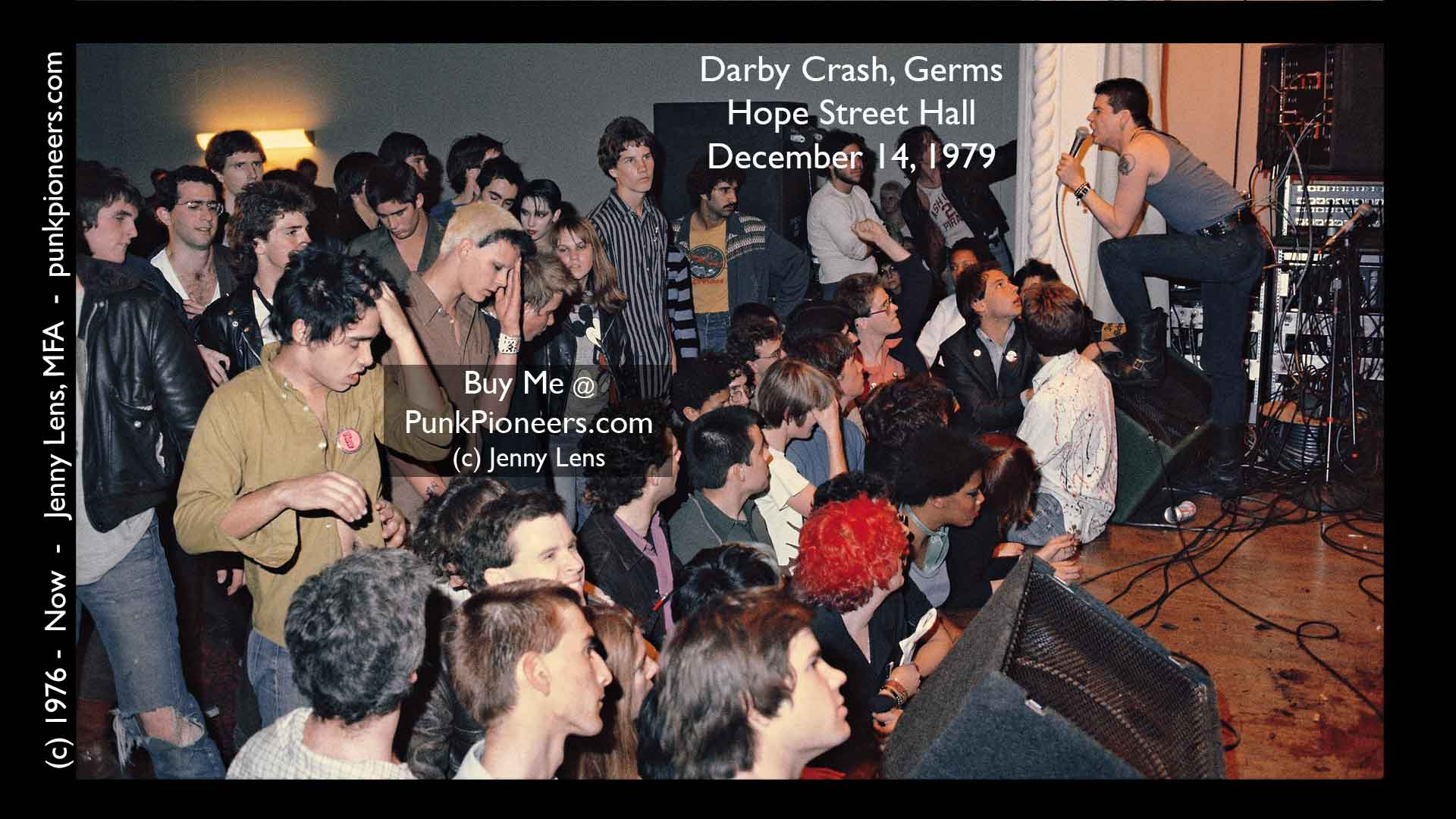 Darby Crash, Germs, Hope Street Hall, December 14, 1979, Jenny Lens, PunkPioneers.com