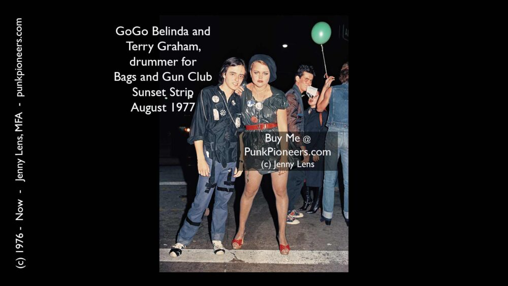 Gogo Belinda and Terry Graham, drummer for Bags and Gun Club, Sunset Strip, August 1977, Jenny Lens, PunkPioneers.com