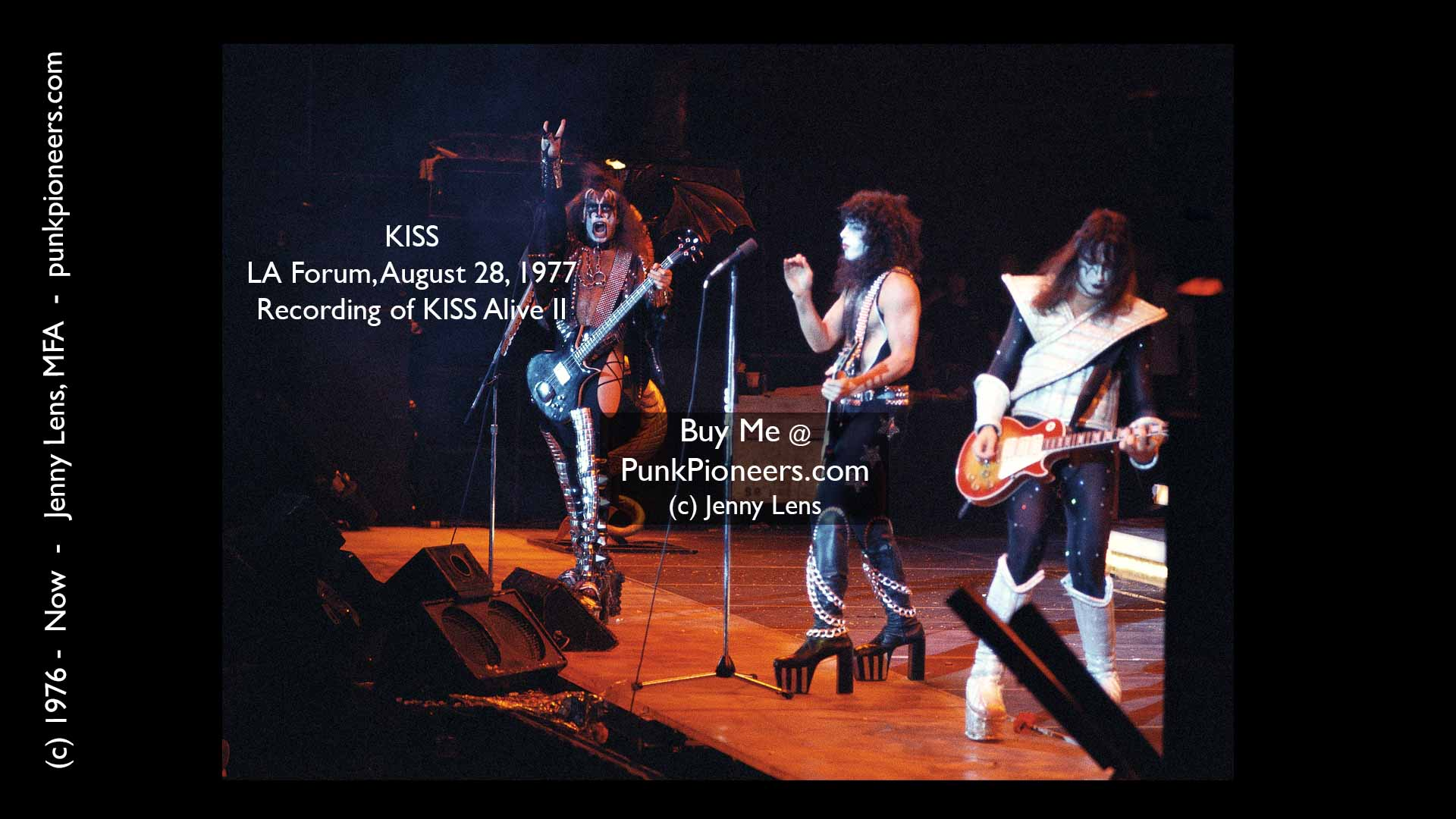 KISS, LA Forum, August 28, 1977, recording of KISS Live II, Jenny Lens, PunkPioneers.com