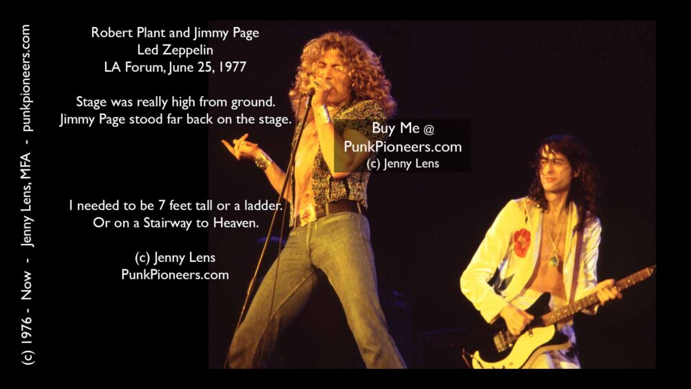 Led Zeppelin, Robert Plant, Jimmy Page, LA Forum, June 25, 1977, Jenny Lens, PunkPioneers.com