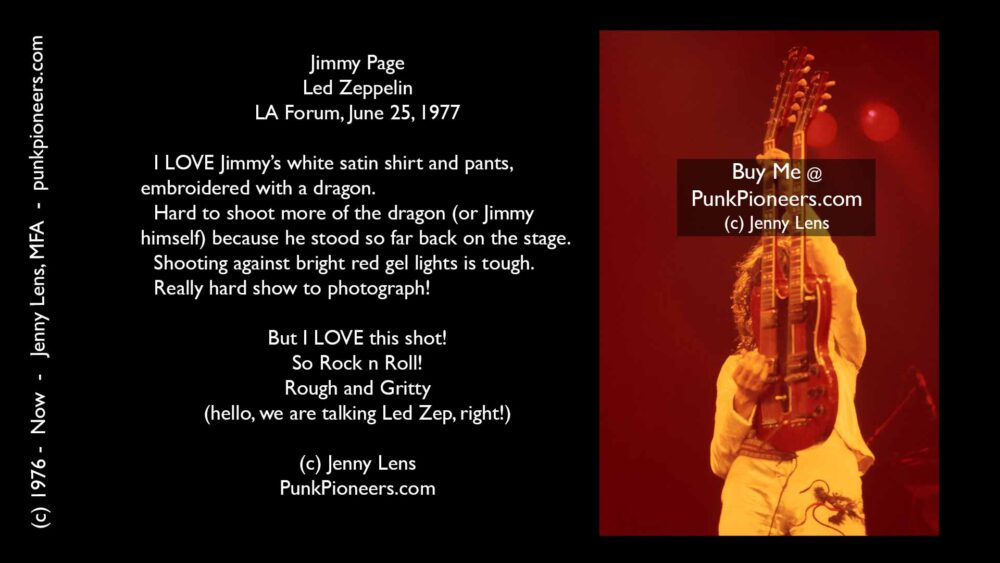 Led Zeppelin, Jimmy Page, LA Forum, June 25, 1977, Jenny Lens, PunkPioneers.com