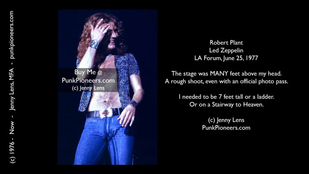 Led Zeppelin, Robert Plant, LA Forum, June 25, 1977, Jenny Lens, PunkPioneers.com