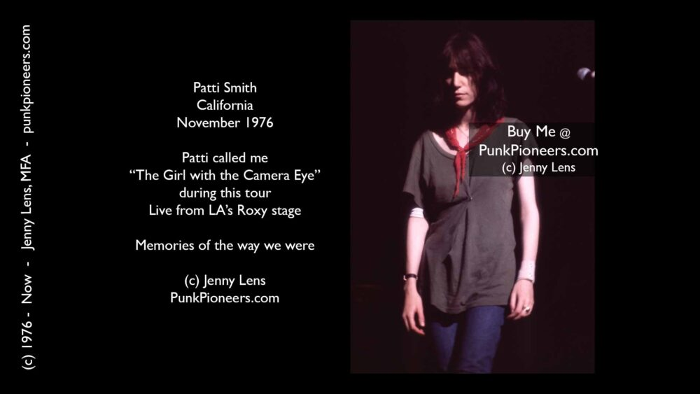 Patti Smith, California, November 1976, Jenny Lens, PunkPioneers.com