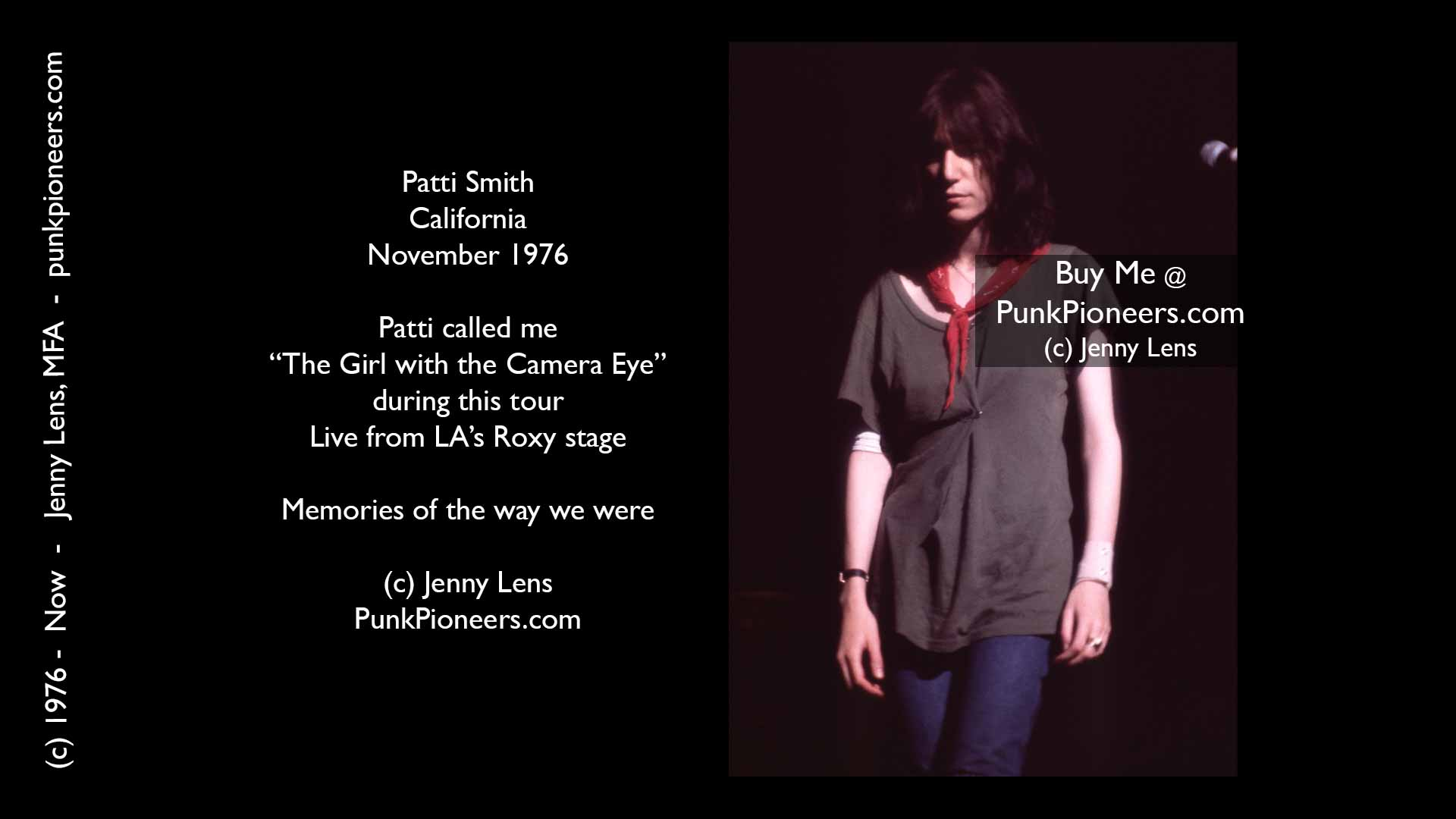 Patti Smith, California, November 1976, Jenny Lens, PunkPioneers.com