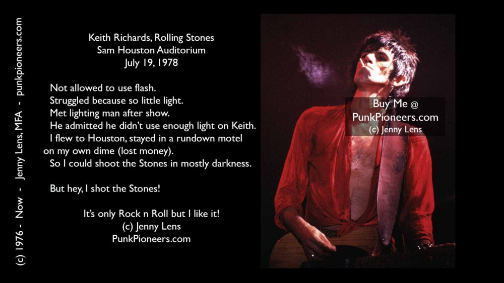 Rolling Stones Keith Richards, Smoke, Houston, July 19, 1978