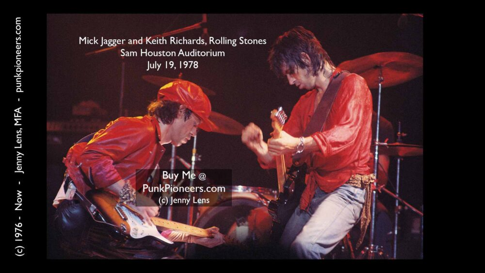 Rolling Stones Dueling Guitars of Mick Jagger and Keith Richards, Houston, July 19, 1978