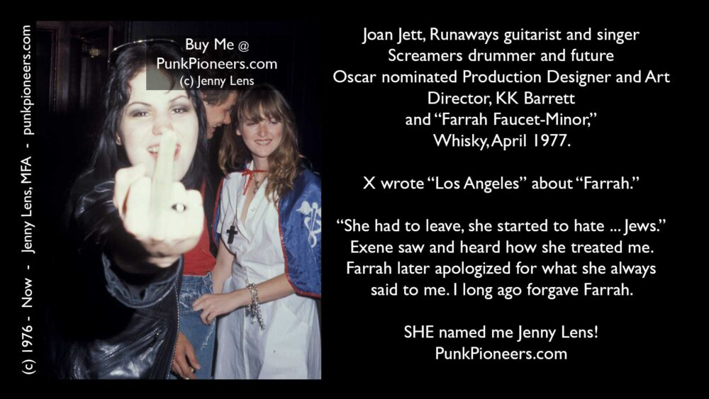 Runaways Joan Jett, Giving the Finger, Whisky, April 1977
