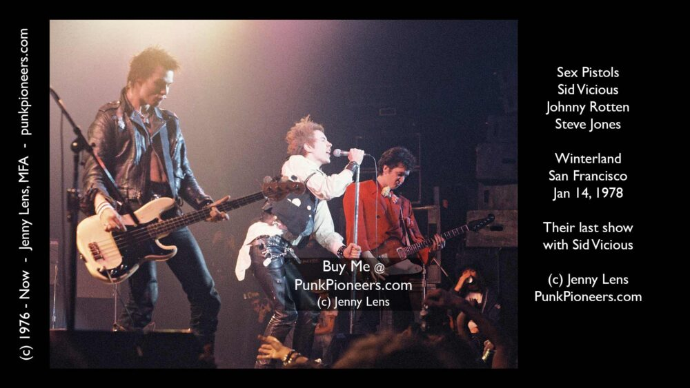 Sex Pistols, Sid Vicious, Johnny Rotten, Steve Jones (Jonesy), Winterland, January 14, 1978