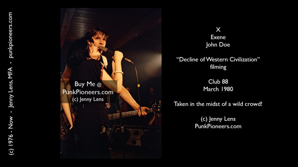X, Exene Cervenka and John Doe, Decline Of Western Civilization filming, Club 88, LA, March 1980 (Vertical)