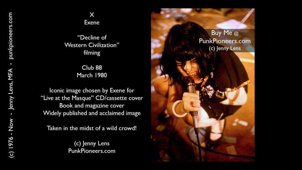 X, Exene Cervenka kneeling, Decline Filming, Club 88, March 1980